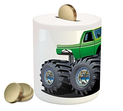 Ambesonne Cars Piggy Bank, Giant Monster Pickup Truck with Large Tires and Suspension Extreme Biggest Wheel Print, Printed Ceramic Coin Bank Money Box for Cash Saving, Green Grey