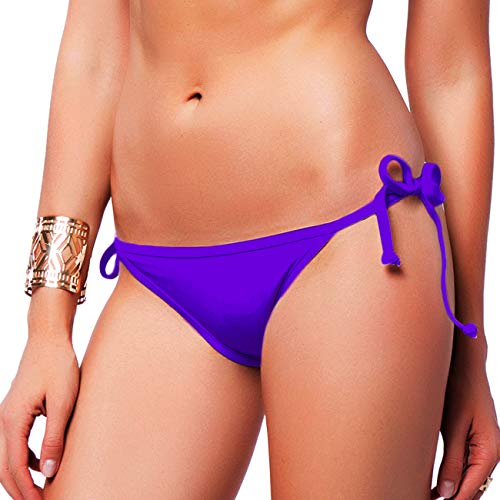 (FITTOO Sexy V Cut Bikini Bottom Tie Sides for Women Cheeky Booty T-Back Ladies Swimsuit Purple S)