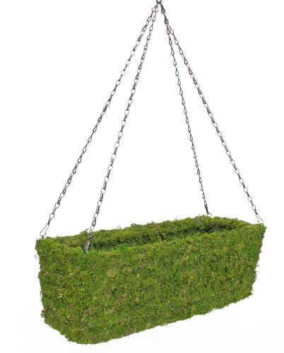 SuperMoss (29350) MossWeave Hanging  Window Box Planter, Fresh Green, 22 with Chain