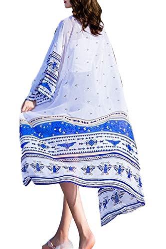 Womens Beach Blouses Long Kimono Open Front Floral Print Cardigan Beach Maxi Dress 2270
