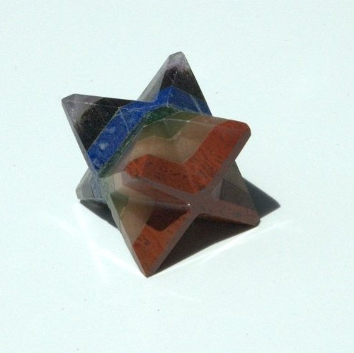 Chakra Merkaba Star (Red Jasper, Peach Aventurine, Golden Quartz, Green Aventurine, Lapis Lazuli, Blue Aventurine, Amethyst)