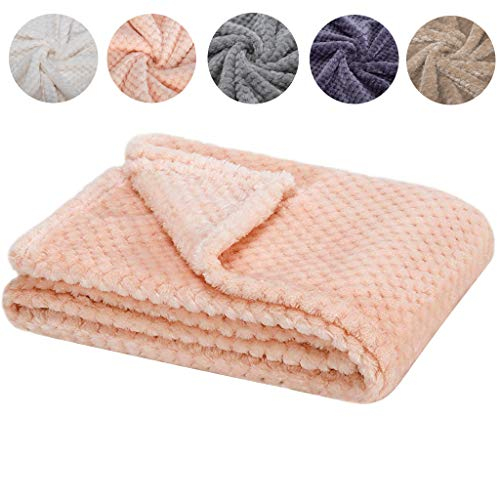 Fuzzy Blanket or Fluffy Blanket for Baby Girl or boy, Soft Warm Cozy Coral Fleece Toddler, Infant or Newborn Receiving Blanket for Crib, Stroller, Travel, Outdoor, Decorative (Pink, 4059) ()