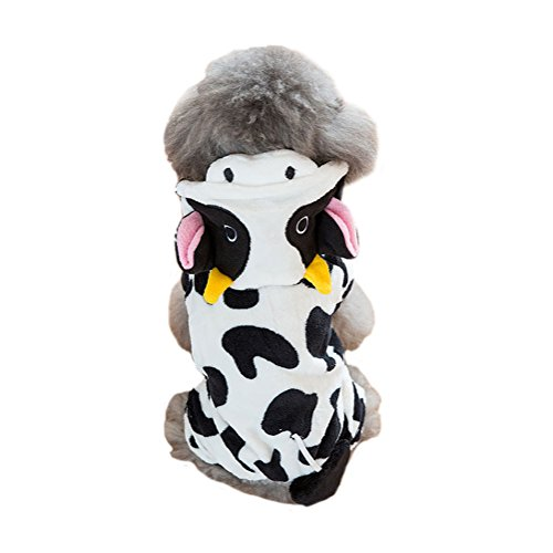Cow Dog Halloween Costumes (WORDERFUL Dog Cow Costume Pet Winter Coat Cute Cow Dog Coral Fleece Hooded Clothes (M))