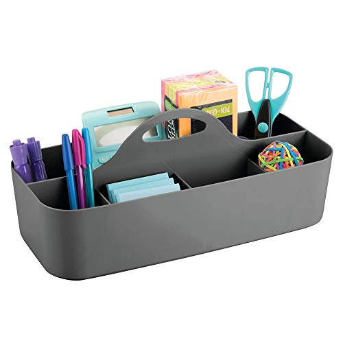 mDesign Extra Large Office Storage Organizer Utility Tote Caddy Holder with Handle for Cabinets, Desks, Workspaces - Holds Desktop Office Supplies, Gel Pens, Pencils, Markers, Staplers - Charcoal Gray ()