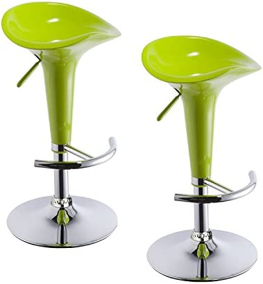 Duhome 2 PCS Contemporary Bombo Style Gloss Finish Adjustable Swivel Bar Stools Chairs for Bar Counter Top Pub Green