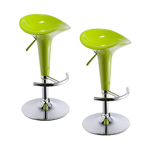 (Duhome 2 PCS Contemporary Bombo Style Gloss Finish Adjustable Swivel Bar Stools Chairs for Bar Counter Top Pub (Green))