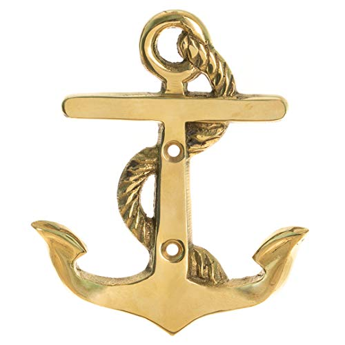 Anchor Wall Hook | Brass Anchor Wall Hook | Perfect for Beach Décor | (One Hook) | Plus Free Nautical Ebook by Joseph Rains