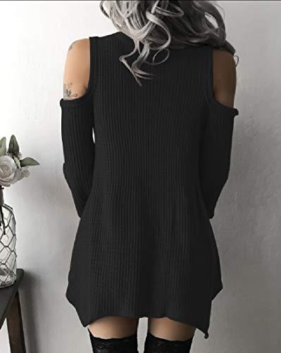 Alion Des Femmes De La Robe De L'épaule Froid Irrgular V Cou Robe De Coupe Cintrée Noir