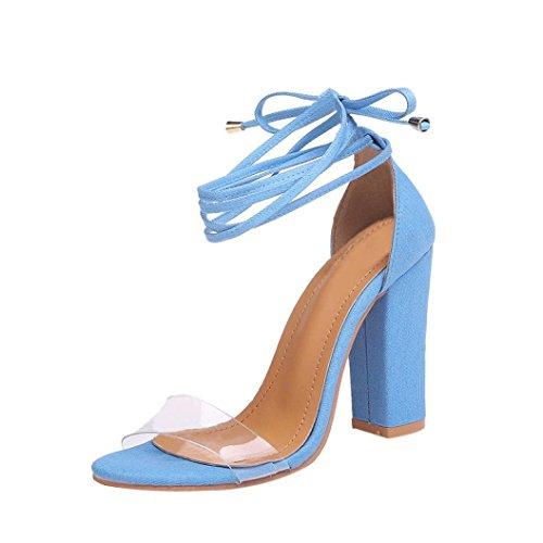 海軍スムーズにペナルティ夏靴、aimtoppyファッションレディース厚手スエードサンダルアンクルストラップハイヒールブロックパーティーオープントウ靴 US:8.5 ベージュ AIMTOPPY