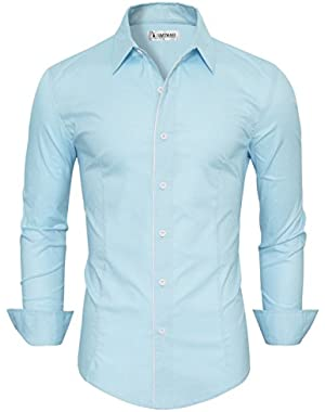 Mens Classic Long Sleeve Plain Dress Shirt