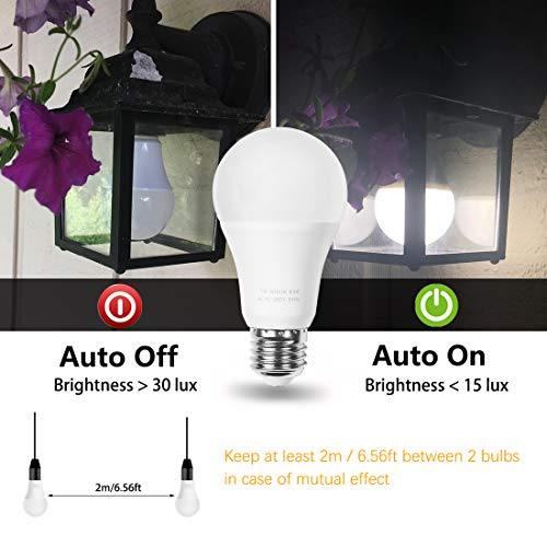 LED Dusk to Dawn Bulbs, AMAZING POWER A19 Frosted E26 Auto On/Off Light Bulb Outdoor, Soft White 2700K 2-Pack