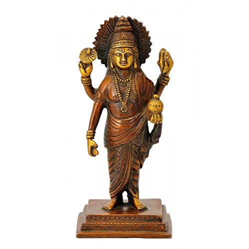 Gangesindia Lord Dhanvantari Master of Ayurveda – Golden Brown Finish Brass Statue 19.69 cm, 8.89 cm, 6.99 cm