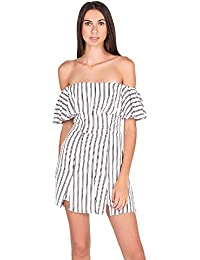 47f8bbfee9c1 Junior s Off Shoulder Striped Ruffle Detail Short Day Romper with Double  Slits White Black