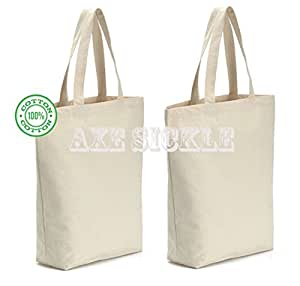 "Axe Sickle (4 per pack) 12oz Heavy Canvas tote bag 15.9"" W X 15.9"" H X 3.8"" Bottom Gusset,Tote shopping bag,Washable grocery tote bag, Craft canvas bag.(white)"