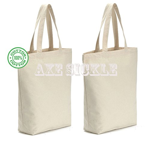 Axe Sickle (4 per pack) 12oz! 12oz! 12oz! Heavy Natural Canvas tote bag 15.9' W X 15.9' H X 3.8' Bottom Gusset,Tote shopping bag,Washable grocery tote bag, Craft canvas bag.(white)