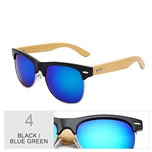 TIANLIANG04 Mirroring Color Blue Sol Negro Black De Gafas Gafas Oro Clásico Green Unisex De rBSqwIFxar