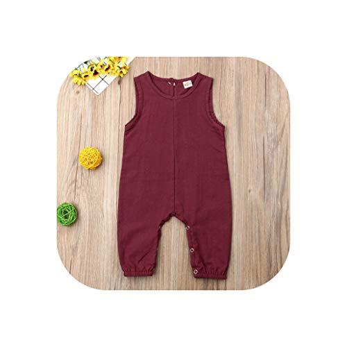 0-24M Newborn Kid Baby Boy Girl Clothes Summer Sleeveless Plain Causal Romper Elegant Cute Cotton Jumpsuit Lovely Sunsuit Outfit,Red,Newborn -