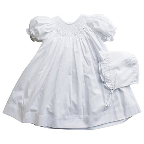 Petit Ami Baby Girls' Bishop Smocked Daydress, 6 Months, White ()
