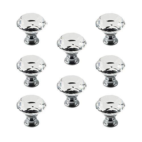 IQUALITE 8pcs 40mm Crystal Glass Cabinet Knob Diamond Shape Drawer Cabinet Pulls (Transparent)
