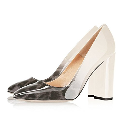 Heels UMEXI to Shoes Heel White Round High Leopard Grey Dress Toe Pumps On Women Slip Chunky Party for Wedding r7wtTrxnq