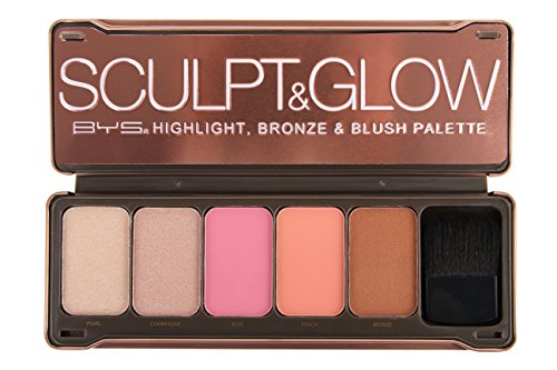 BYS Sculpt & Glow- Highlight, Bronze & Blush Palette with Brush and Mirror- Pearl, Champagne, Rose, Peach, Bronze, Illuminate makeup (Strawberries And Champagne Gift Baskets)