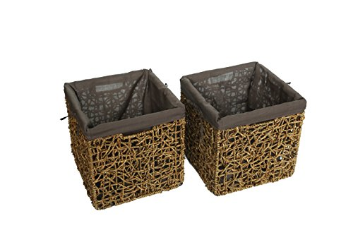 "10.6"" Foldable Seagrass Storage Basket with Liner and Iron Wire Frame by Trademark Innovations - The basket measures 10.6""L x 10.6""W x 10.6""H Made from beautiful seagrass over an iron wire frame with fabric liner. Color may vary slightly Folds flat for easy storage - living-room-decor, living-room, baskets-storage - 413V%2B3cMYJL -"