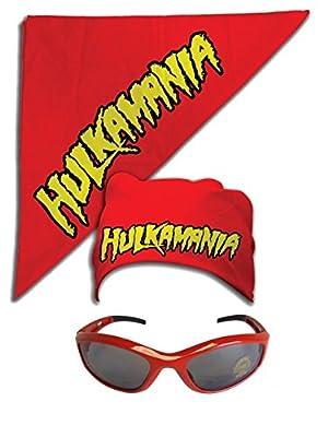 Hulk Hogan Hulkamania Bandana Sunglasses Costume -Red-Red