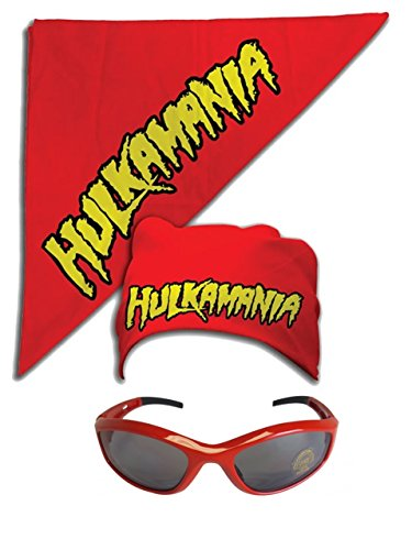 Hulk Hogan Hulkamania Bandana Sunglasses Costume -Red-Red by TNA