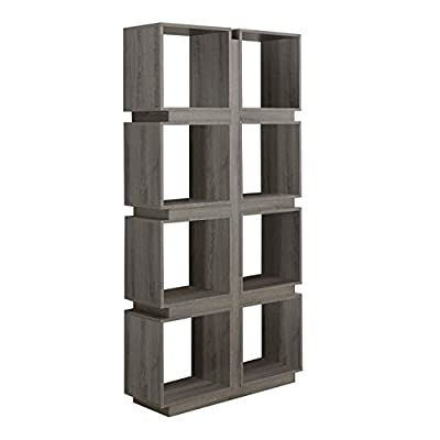 Monarch Specialties Dark Taupe Reclaimed-Look Bookcase, 71-Inch - 8 cubic storage shelves Can be used as a bookcase or a room divider Stylish reclaimed wood look finish - living-room-furniture, living-room, bookcases-bookshelves - 413V%2BKNH4lL. SS400  -