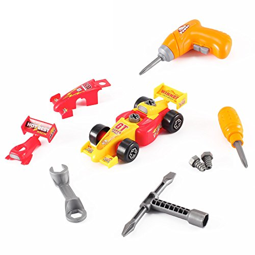 Take Apart Toy Race Car Kit for Kids with Electric Drill and Power Tools, More than 20 Parts