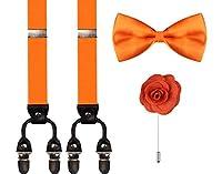 CEAJOO Mens Adjustable Suspenders Bow Tie and Handmade Flower Lapel Pin Set