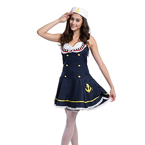 (PINSE Ladies Sexy Sailor Girl Pinup Navy Uniforms Halloween Costume)
