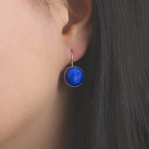14K Gold Blue Lapis Lazuli Earrings - 14K Solid Yellow Gold Dangle Drop Earrings, 12mm Natural Stone, Genuine Dark Blue Lapis Lazuli Gemstone, Minimalist Handmade Dainty Jewelry Statement Earrings