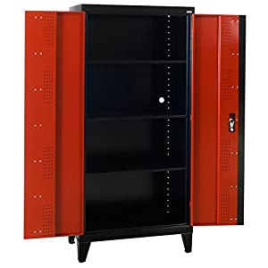 "Sandusky Lee GF3F361872-019L Modular System Storage Cabinet, 2 Door, 36"" Width x 18"" Diameter x 79"" Height, Black/Red"