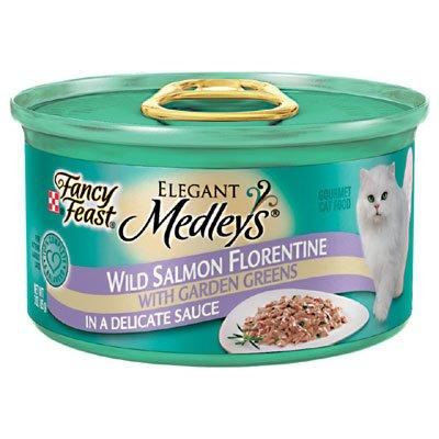 Fancy Feast Elegant Medleys, Wild Salmon Florentine with Garden Greens Wet Cat Food, 3 oz (Pack of - Elegant Cat