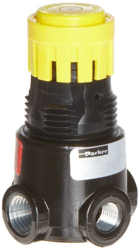 "Parker 14R113FC Regulator, Relieving Type, 2-125 psi Pressure Range, No Gauge, 15 scfm, 1/4"" NPT"