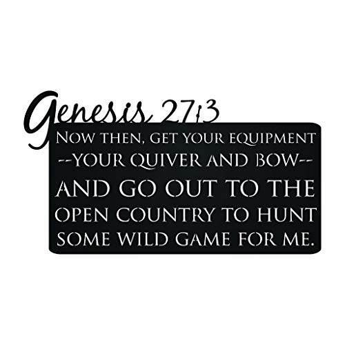 Genesis 27:3 Laser Cut Bible Verse Deer Hunting Metal Wall Art Sign for Home Cabin Decor (Black)