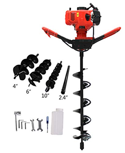 PROMOTOR 52CC Post Hole Digger One Man Auger (4', 6', 10' Bits+Extention) 2 Stroke Gas Electric Power Cordless Auger Earth Auger