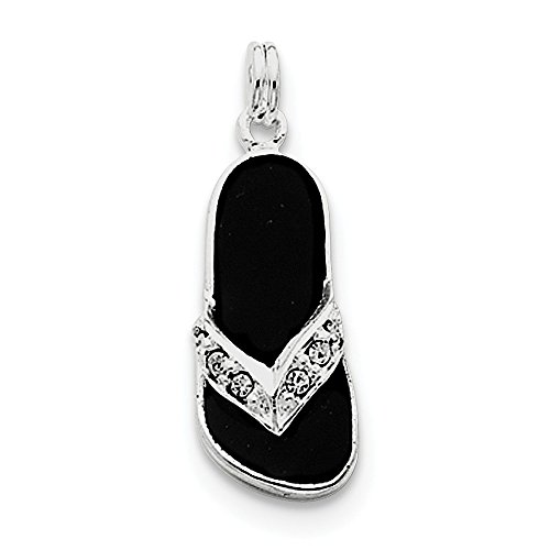 Diamond2Deal 925 Sterling Silver Black Enameled CZ Flip Flop Pendant