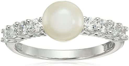 Sterling Silver Freshwater Pearl with Cubic Zirconia Accent Ring, Size 7