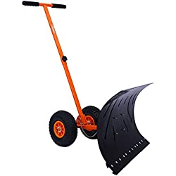 Snow Shovel, Ohuhu Adjustable Wheeled Snow Pusher, Heavy Duty Rolling Snow Plow Shovels, Efficient Snow Plow Snow Removal Tool【UPGRADED VERSION】