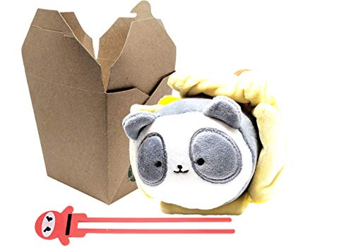 Pandaroll Take-Out Kawaii Plush Panda with Banana Blanket, Container and Chopsticks by Anirollz -