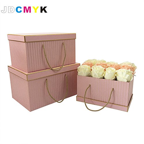 3pcs/Set very bis size rectangle shape florist packing flowers gift box ,gold line wedding decoration party favors coffret gift boxes (pink) Floral Coffret