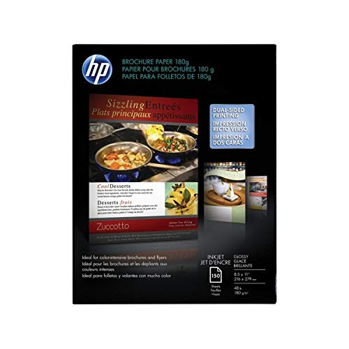HP Brochure Paper, Glossy (150 Sheets, 8.5 x 11 Inches, 180 g) 92 Brightness (Two Sided Glossy Paper)