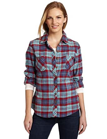 Dickies Women's Long Sleeve Plaid Flannel Shirt, Cherry Slate Blue Plaid, 2X