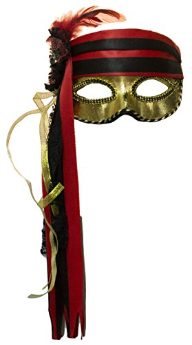 Lady Pirate Venetian Half Mask with Feathers and Ribbon ()
