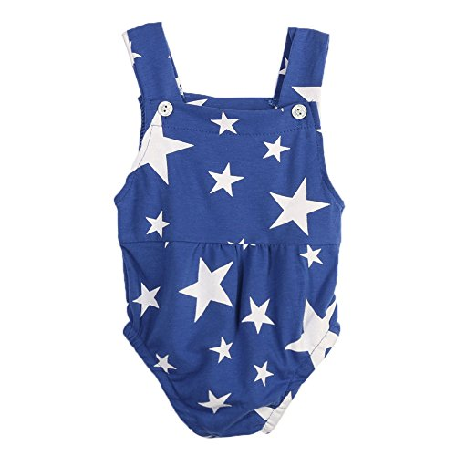 Diamondo Baby Romper, Baby Infant Toddler Sleeveless Rompers Star Print Jumpsuit Sunsuit(0-18 Months Baby) (Age: 0-3M, Blue)