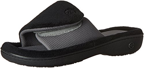 ISOTONER Women's Adjustable Memory Foam W/Smartdri Slide Slipper, Black, Medium/7.5-8 M US