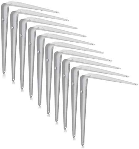 XFORT® London Shelf Brackets, Wall Mounted Shelve Brackets, Shelving Support Brackets, Book Shelf Bracket, Floating Shelve Bracket. [White, 10 Pack] [14 x 12 inch]