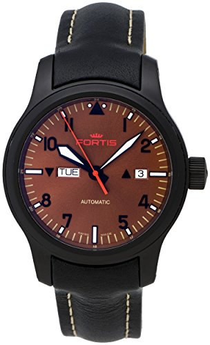 Fortis B-42 Aeromaster Dusk Automatic Day/Date Black PVD Steel Mens Watch 655.18.98 L.01